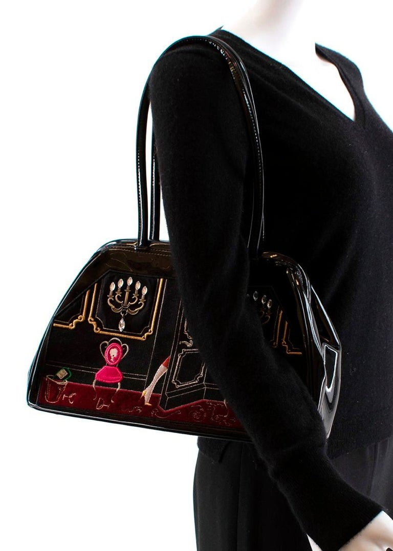 LULU GUINNESS Patent Embroidered Tote Bag For Sale 5
