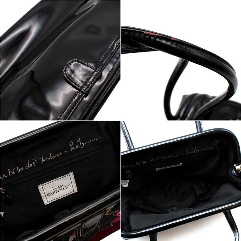 LULU GUINNESS Patent Embroidered Tote Bag For Sale 3