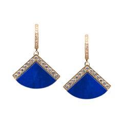 Lulu Torta 18 Karat Yellow Gold Earrings with Lapis lazuli and Diamonds