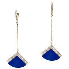 Lulù Torta 18 Karat Yellow Gold Earrings with Lapis Lazuli and Diamonds