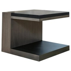 LUMA Design Workshop Float Side Table Stone Oak, Smoke Powder Coat & Fog Resin