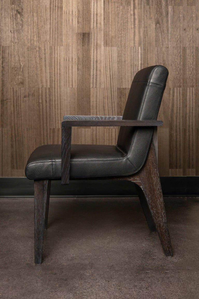 LUMA Design Workshop Silo Arm Dining Chair in Light Tan Leather and Light Wood In New Condition For Sale In Seattle, WA