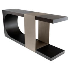 LUMA Design Workshop Silo Console in Dark Brown Wood & Light Gray Textured Metal