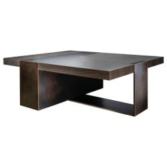 LUMA Design Workshop Strap Coffee Table in Dark Wood and Dark Bronze Metal
