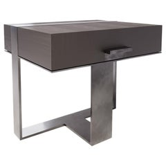 LUMA Design Workshop Strap Nightstand in Dark Wood and Light Antique Metal