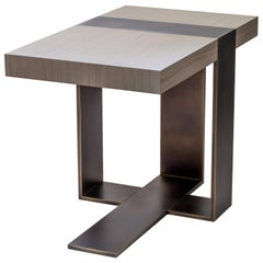 LUMA Design Workshop Strap Occasional Table in Light Gray Wood & Bronze Metal