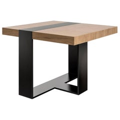 LUMA Design Workshop Strap Side Table in Light Natural Wood and Black Metal