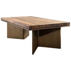 "LUMA Design Workshop ""V"" Coffee Table Bronze Quartz and Solid Black Limba"