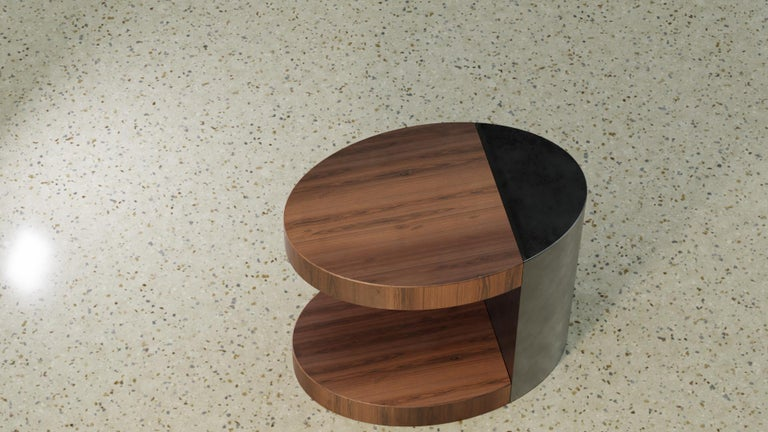 Powder-Coated LUMA Silo Occasional Table in Natural Walnut and Smoke Powder Coat For Sale