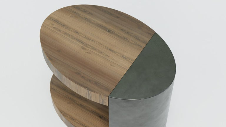 LUMA Silo Occasional Table in Natural Walnut and Smoke Powder Coat In New Condition For Sale In Seattle, WA