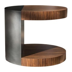 LUMA Silo Occasional Table in Dark Natural Wood and Dark Gray Metal
