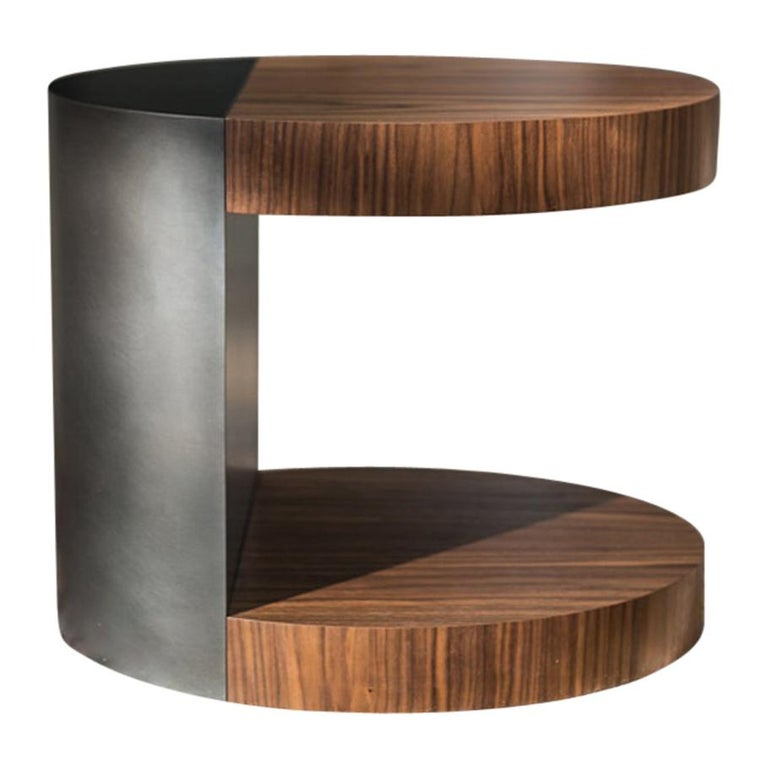 LUMA Silo Occasional Table in Natural Walnut and Smoke Powder Coat For Sale