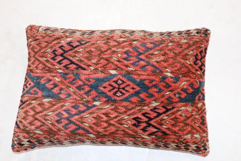 Tribal Lumbar Antique Turkeman Rug Pillow For Sale