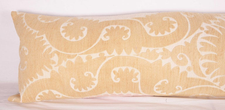 Uzbek Lumbar / Body Pillow Fashioned from a Vintage Suzani For Sale