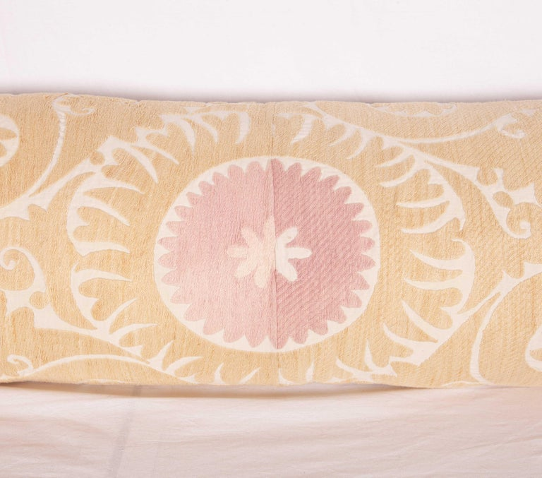 Embroidered Lumbar / Body Pillow Fashioned from a Vintage Suzani For Sale