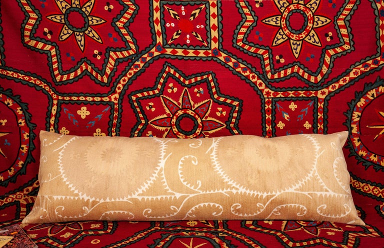 Lumbar / Body Pillow Fashioned from a Vintage Suzani In Good Condition For Sale In Istanbul, TR