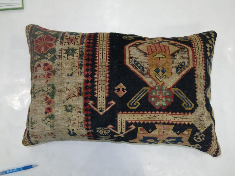 Lumbar Caucasian Rug Pillow In Good Condition For Sale In New York, NY
