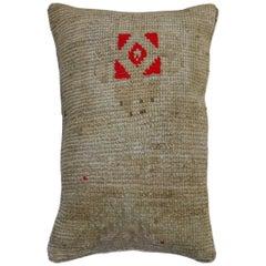 Lumbar Neutral Pop of Red Turkish Rug Pillow