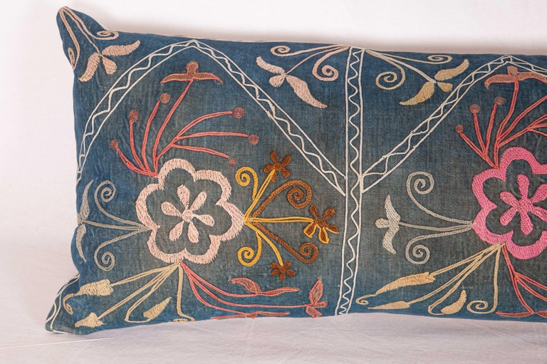Embroidered Lumbar Pillo Case Fashioned from a Mid-20th Century Uzbek Suzani For Sale
