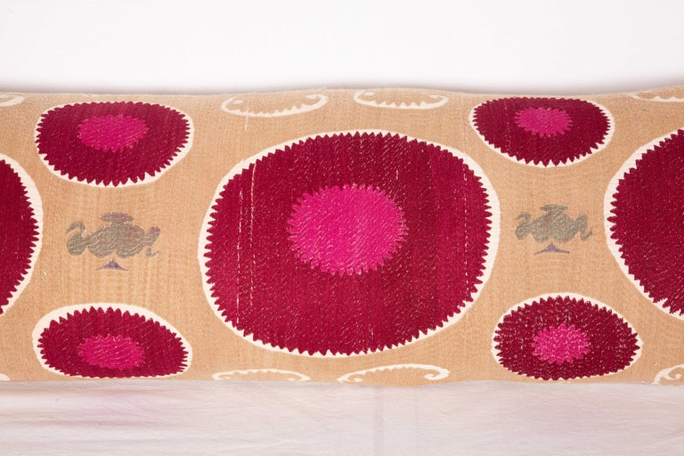 Lumbar Pillow Case Fashioned from a Mid-20th Century Samarkand Suzani In Good Condition For Sale In Istanbul, TR