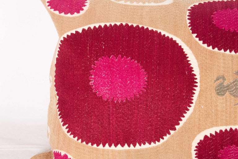 Lumbar Pillow Case Fashioned from a Mid-20th Century Samarkand Suzani For Sale 1