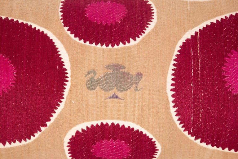 Lumbar Pillow Case Fashioned from a Mid-20th Century Samarkand Suzani For Sale 2