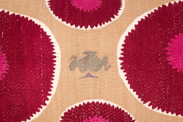 Lumbar Pillow Case Fashioned from a Mid-20th Century Samarkand Suzani For Sale 3