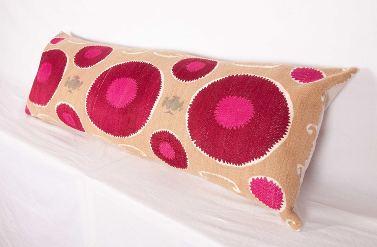 Lumbar Pillow Case Fashioned from a Mid-20th Century Samarkand Suzani For Sale 5