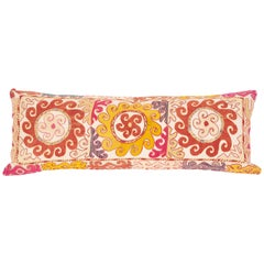 Lumbar Pillow Case Fashioned from an Uzbek Embroidered Mafrash Panel, Mid-20th C