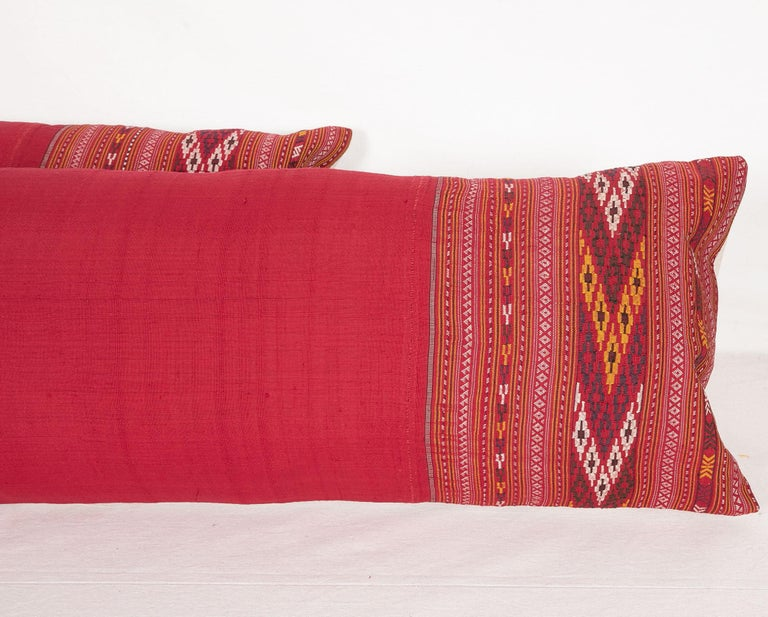Tribal Lumbar Pillow Cases Fashioned from an Early 20th Century Turkmen Shawl For Sale