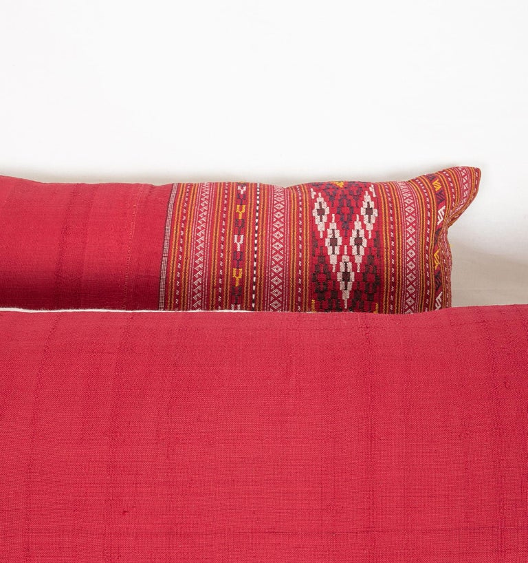 Hand-Woven Lumbar Pillow Cases Fashioned from an Early 20th Century Turkmen Shawl For Sale