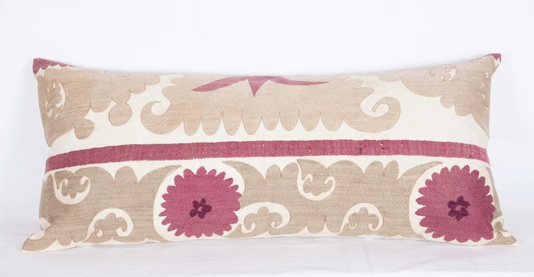 Embroidered Lumbar Pillow Cases Fashioned from an Early 20th Century Uzbek Suzani For Sale