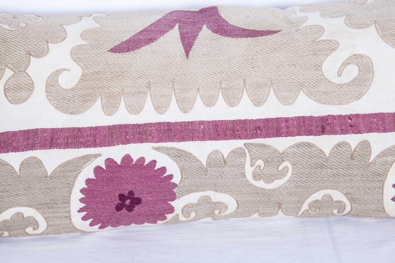 Lumbar Pillow Cases Fashioned from an Early 20th Century Uzbek Suzani In Good Condition For Sale In Istanbul, TR