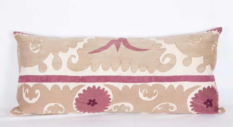 Silk Lumbar Pillow Cases Fashioned from an Early 20th Century Uzbek Suzani For Sale