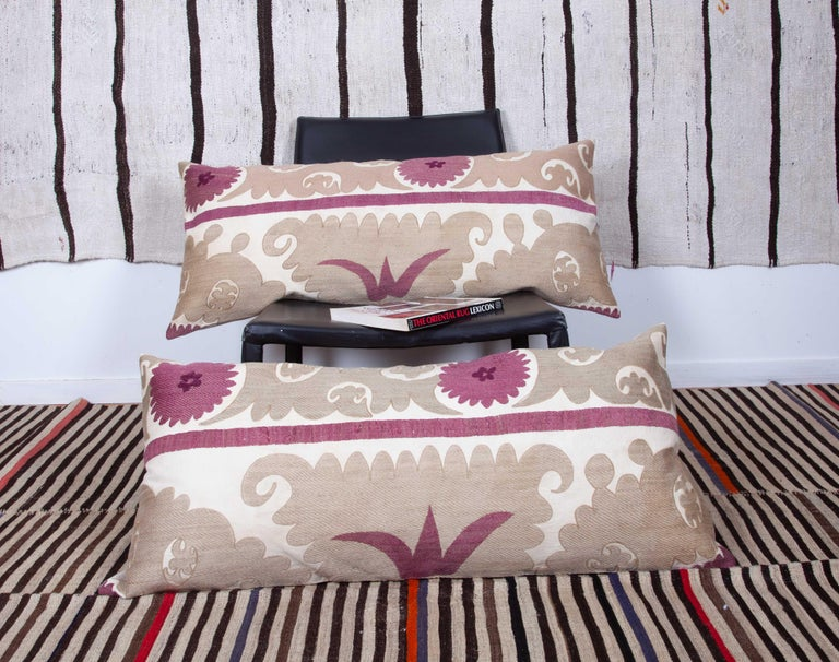 Lumbar Pillow Cases Fashioned from an Early 20th Century Uzbek Suzani For Sale 2