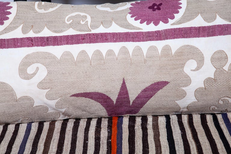 Lumbar Pillow Cases Fashioned from an Early 20th Century Uzbek Suzani For Sale 3