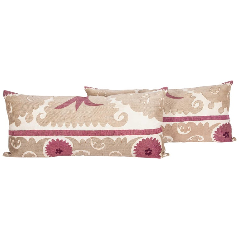 Lumbar Pillow Cases Fashioned from an Early 20th Century Uzbek Suzani For Sale