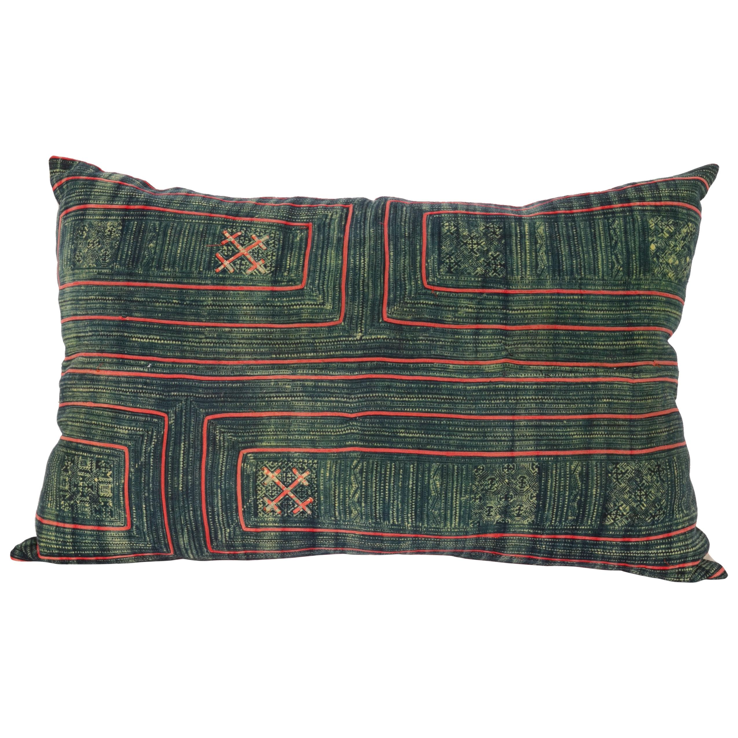 Lumbar Pillow Cases Made from Hmong Hill Tribe Indigo Batik Textile