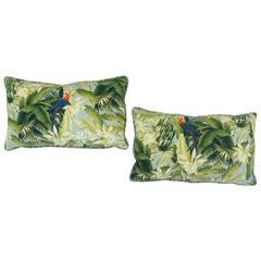 Lumbar Pillow with Parrot and Palms