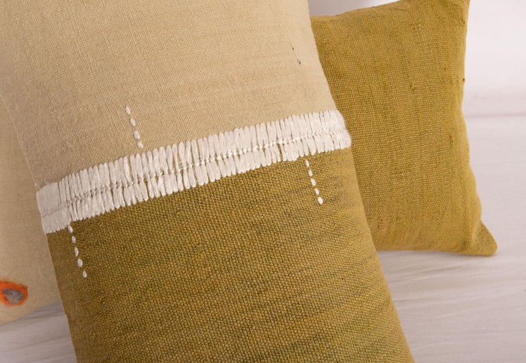 Hand-Woven Lumbar Pillowcases Made from an Eastern Anatolian Perde 'Cover' Mid-20th Century For Sale
