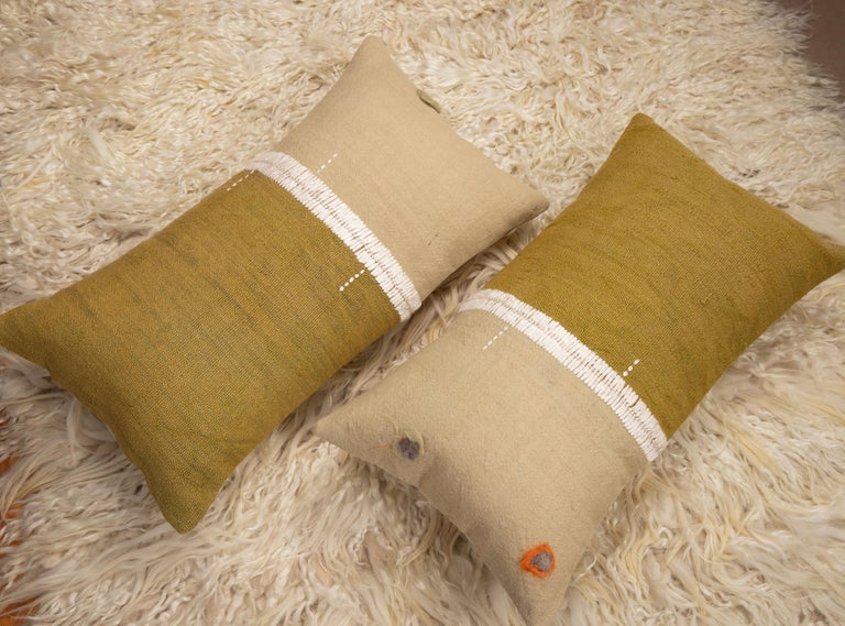 Wool Lumbar Pillowcases Made from an Eastern Anatolian Perde 'Cover' Mid-20th Century For Sale