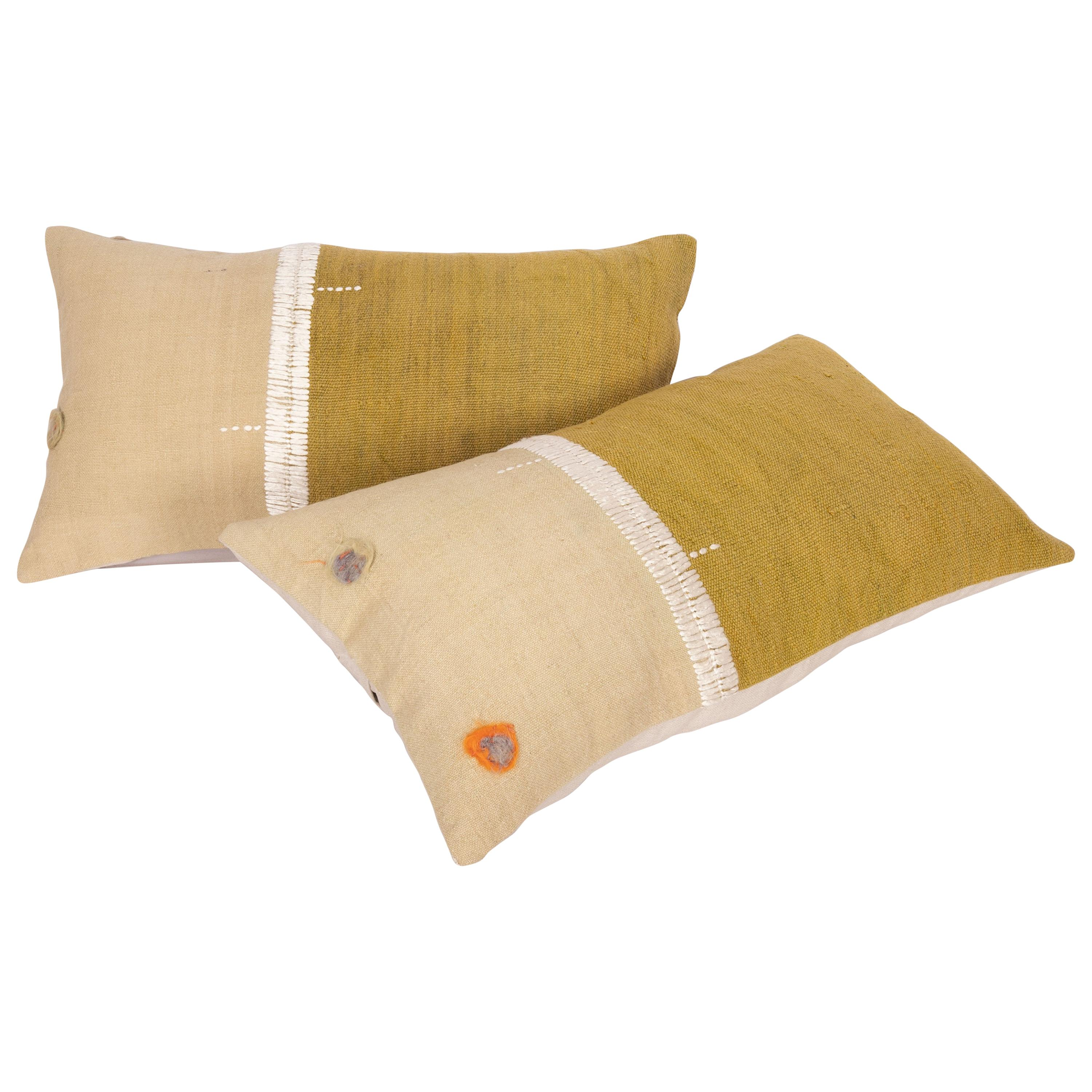Lumbar Pillowcases Made from an Eastern Anatolian Perde 'Cover' Mid-20th Century