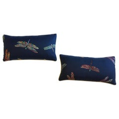 Lumbar Pillows with Embroidered Dragonflies