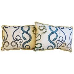 Lumbar Pillows with Hand Drawn Intertwining Snake Pattern