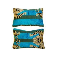 Lumbar Pillows with Velvet Tibetan Tiger Motif