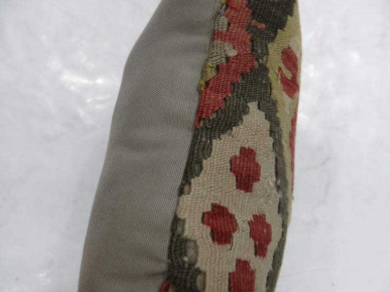 Lumbar Size Turkish Kilim Pillow In Excellent Condition For Sale In New York, NY