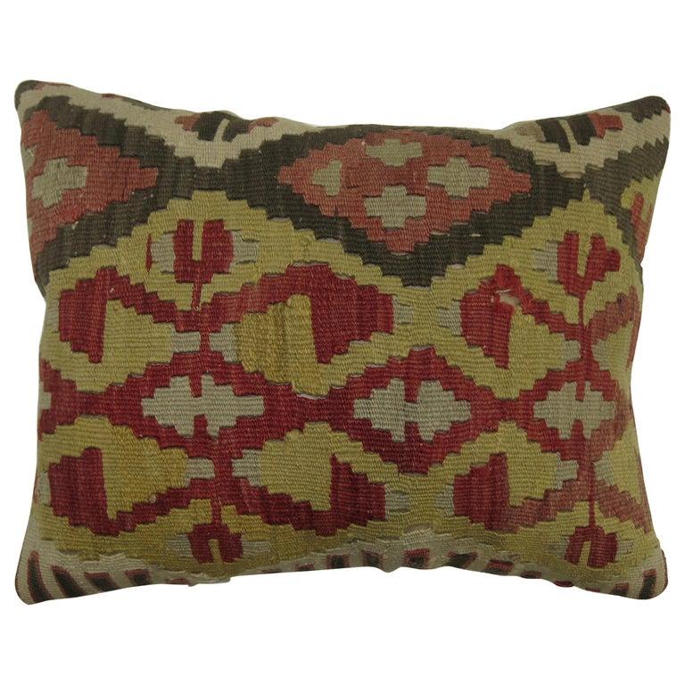 Lumbar Size Turkish Kilim Pillow For Sale