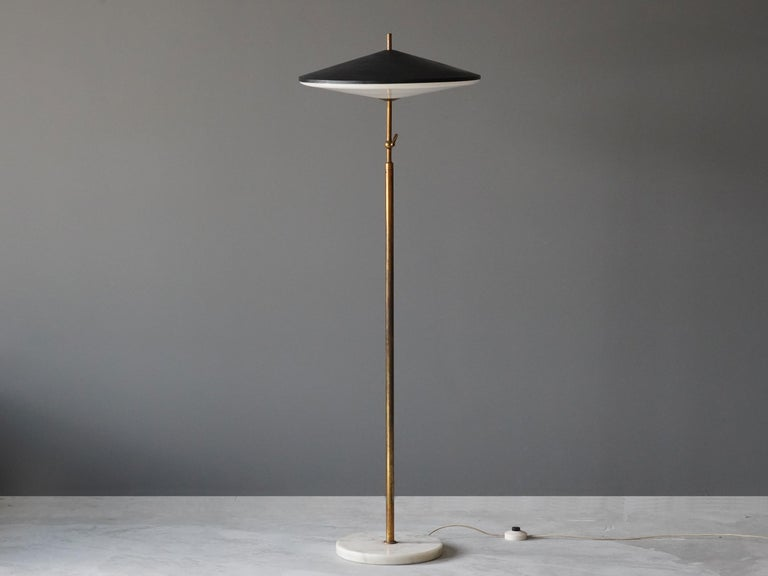 Mid-Century Modern Lumen Milano, Rare Floor Lamp Brass Marble, Painted Metal, Acrylic, Italy, 1950s For Sale