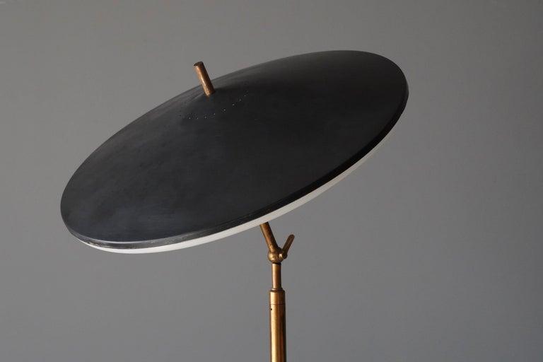Italian Lumen Milano, Rare Floor Lamp Brass Marble, Painted Metal, Acrylic, Italy, 1950s For Sale