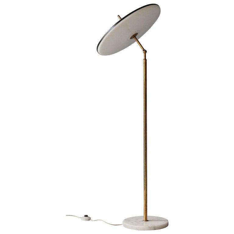 Lumen Milano, Rare Floor Lamp Brass Marble, Painted Metal, Acrylic, Italy, 1950s For Sale